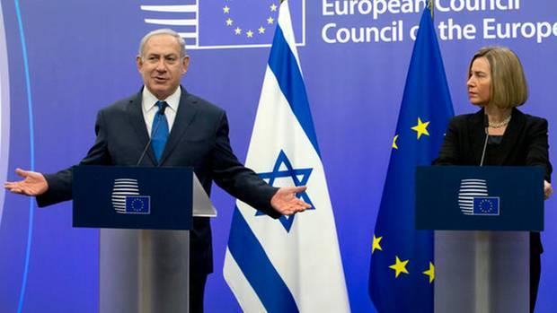 Benjamin Netanjahu und Federica Mogherini in Brüssel