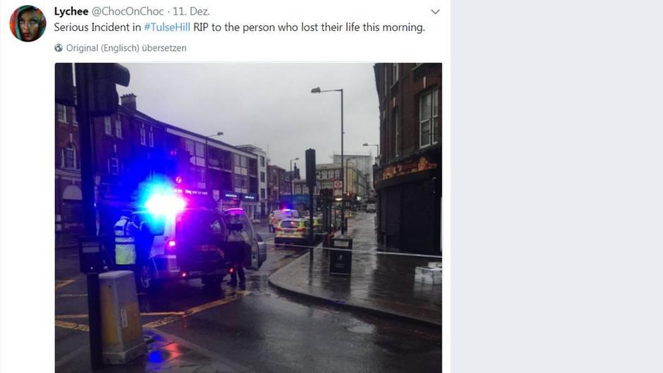 Twitter-Userin Lychee postete ein Foto der Unfallstelle in London