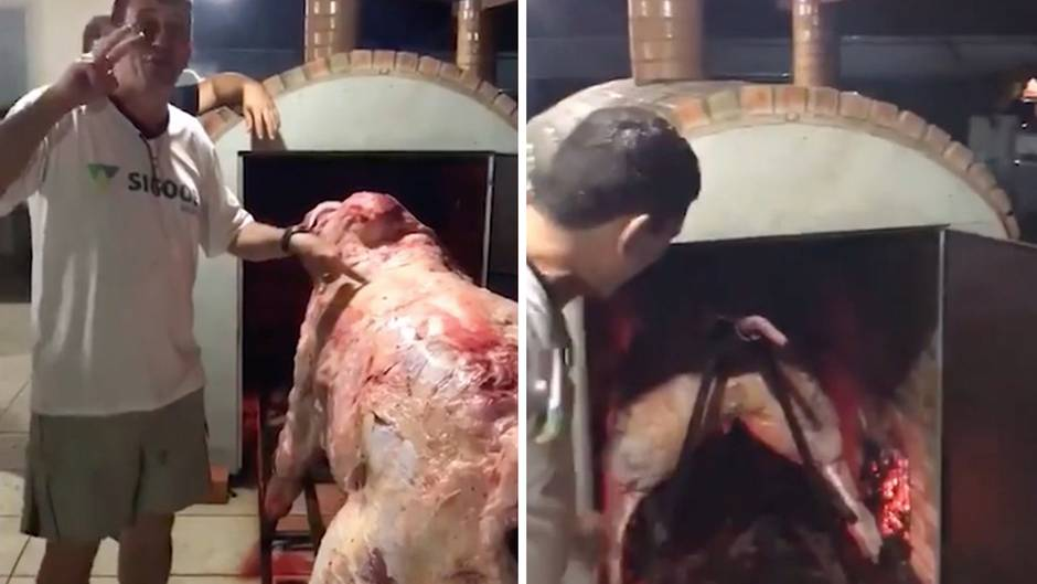 Extremes Barbecue: Brasilianer schieben ganze Kuh in den Ofen - und sorgen bei Gästen für Aufsehen