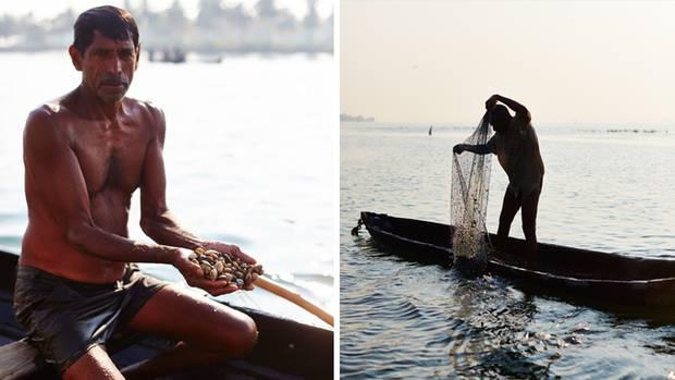 Der indische Fischer Silvi Thomas bei der Arbeit