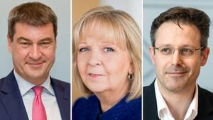 Markus Söder (l.), Hannelore Kraft, Marcus Pretzell