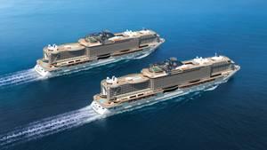 """""""MSC Seaview"""" von MSC Kreuzfahrten  Der dritte Neubau innerhalb nur eines Jahres der Reederei MSC: Die italienisch-schweizerische Reederei realisiert ein enormes Investitionsprogramm und stellt mit der """"Seaview"""" das 15. Schiff in Dienst. Ins Auge sticht das markante Heck und die 360-Grad-Promenade. Den Sommer über wird das Schwesterschiff der """"Seaside"""" durch das Mittelmeer kreuzen und ab November 2018 in Südamerika unterwegs sein.  Daten: 323 Meter Länge, 154.000 BRZ, 5429 Passagiere, www.msc-kreuzfahrten.de"""