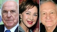 Helmut Kohl (l.), Christine Kaufmann, Hugh Hefner