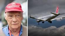 Niki Lauda und ein Flugzeug der Airline Niki