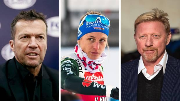 Lothar Matthäus (l.), Vanessa Hinz, Boris Becker