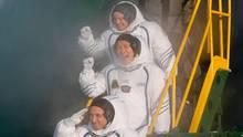 Drei Raumfahrer aus den USA, Japan und Russland auf dem Weg zur ISS