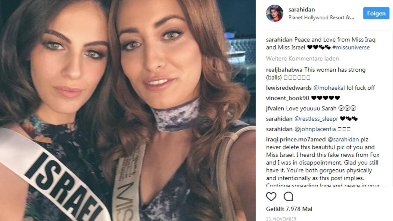 Unscheinbarer Schnappschuss, ungeahnte Folgen: Adar Gandelsman, Miss Israel, und Sarah Idan, Miss Irak