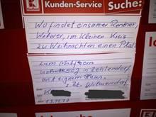 Im November wandte sich Herr Kühne mit seinem Weihnachtswunsch an die Öffentlichkeit im Supermarkt.