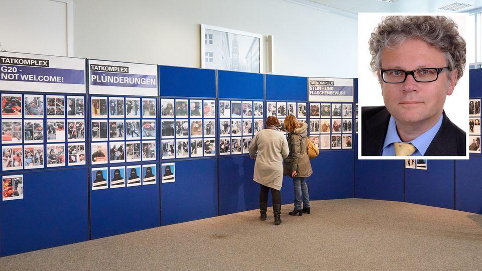 Personen vor einer Stellwand mit Fotos der G20-Fahndung und Hamburgs Datenschutzbeauftragter Johannes Caspar
