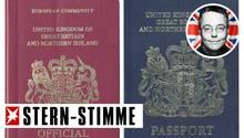 Die Briten lieben ihre alten blauen Pässe (r.), die 1988 durch die weinrote (l.) ersetzt wurden. Übrigens freiwillig, denn Brüssel schreibt keine Passfarben vor.