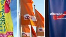 Eine Kombo zeigt Flaggen der FDP, der CDU und der Alternative für Deutschland