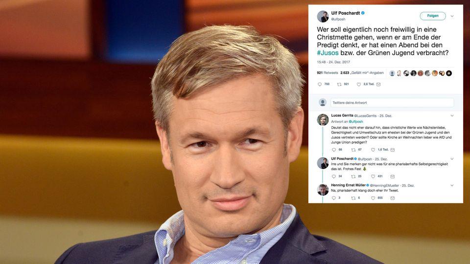 """""""Welt""""-Chefredakteur Ulf Poschardt sitzt in einem TV-Studio, neben ihm sein Tweet über die Christmette"""