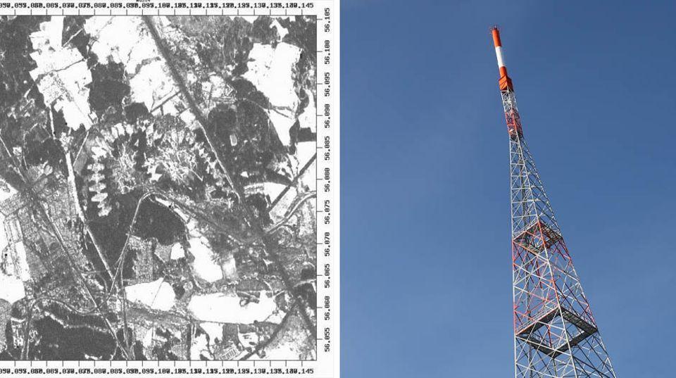 Eine Satellitenbild der Sendeanlage der Radiostation, ein Sendemast