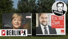 GroKo-Sondierer  Angela Merkel (CDU) und Martin Schulz (SPD) auf Wahlplakaten (Archivbild)