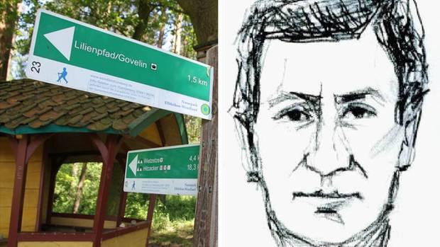 Ein Wegweiser in der Göhrde bei Lüneburg und ein Phantombild des Täters