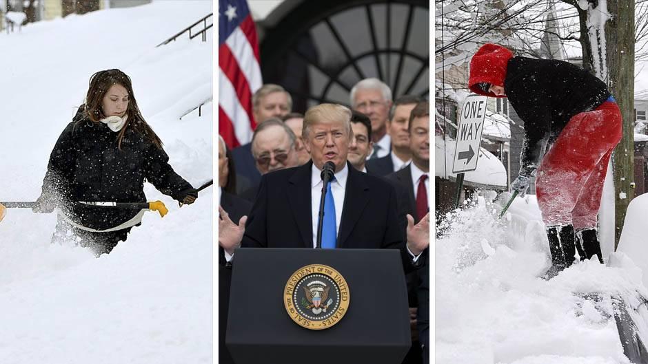 Menschen in den USA kämpfen mit Schneemassen, US-Präsident Donald Trump
