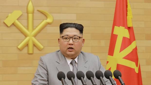 Der nordkoreanische Machthaber Kim Jong Un bei seiner Neujahrsansprache