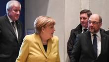 Bisher uneins über neue Groko: Horst Seehofer, Angela Merkel, Martin Schulz