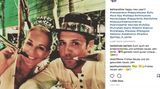 Mit Tröte und lustigen Hüten feierte Caroline Beil in Cancun, Mexiko
