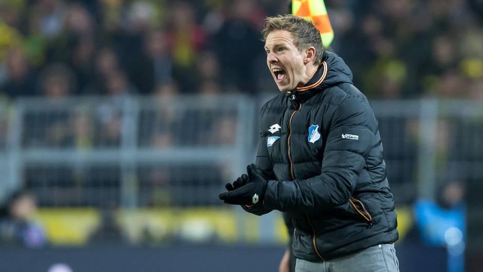 Julian Nagelsmann schreit der Mannschaft vom TSG 1899 Hoffenheim Anweisungen zu