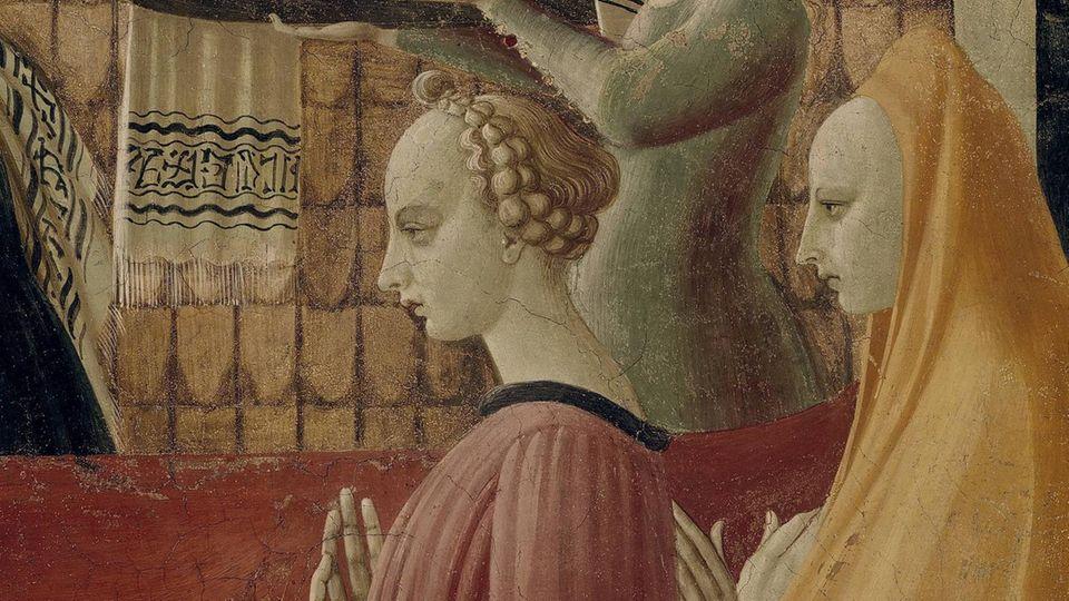 """Das Gemälde """"Geburt Mariä"""" von 1435 zeigt zwei Frauen mit hoher Stirn."""