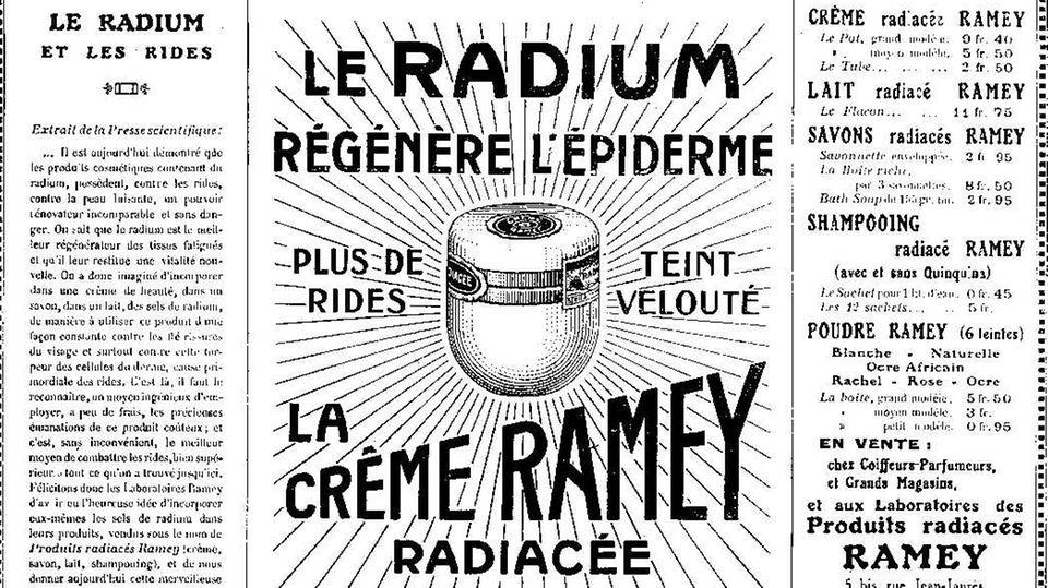 Eine Werbeanzeige für die Ramey-Creme, die Radium enthielt