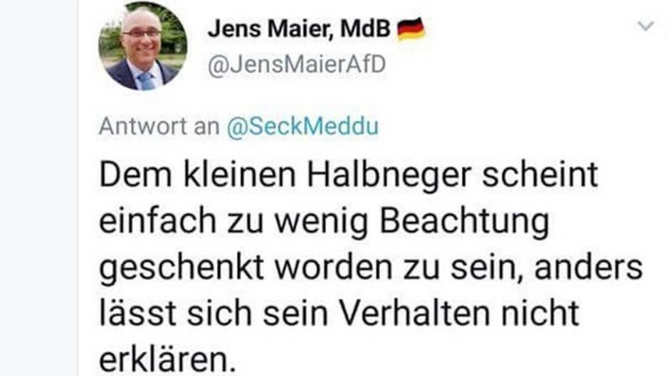 Bundestagsmitglied Jens Maier: AfD-Politiker sorgt mit rassistischem Tweet für Empörung