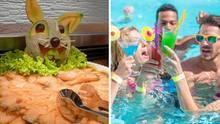 Collage: Buffet, Personen im Pool mit Getränken