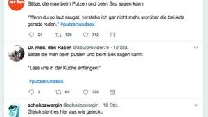 Drei Tweets mit dem Hashtag #putzenundsex