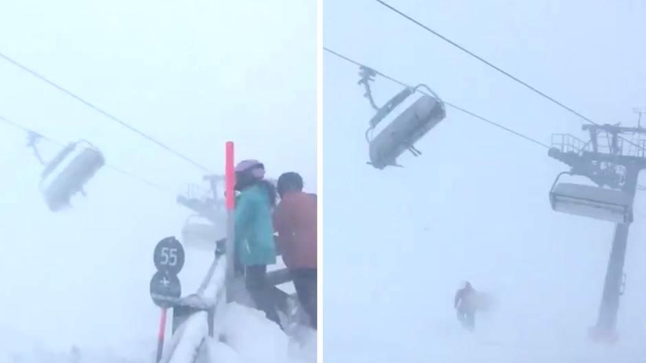 """Österreich: Sturmtief """"Burglind"""": Hier werden Skifahrer ordentlich durchgeschüttelt"""