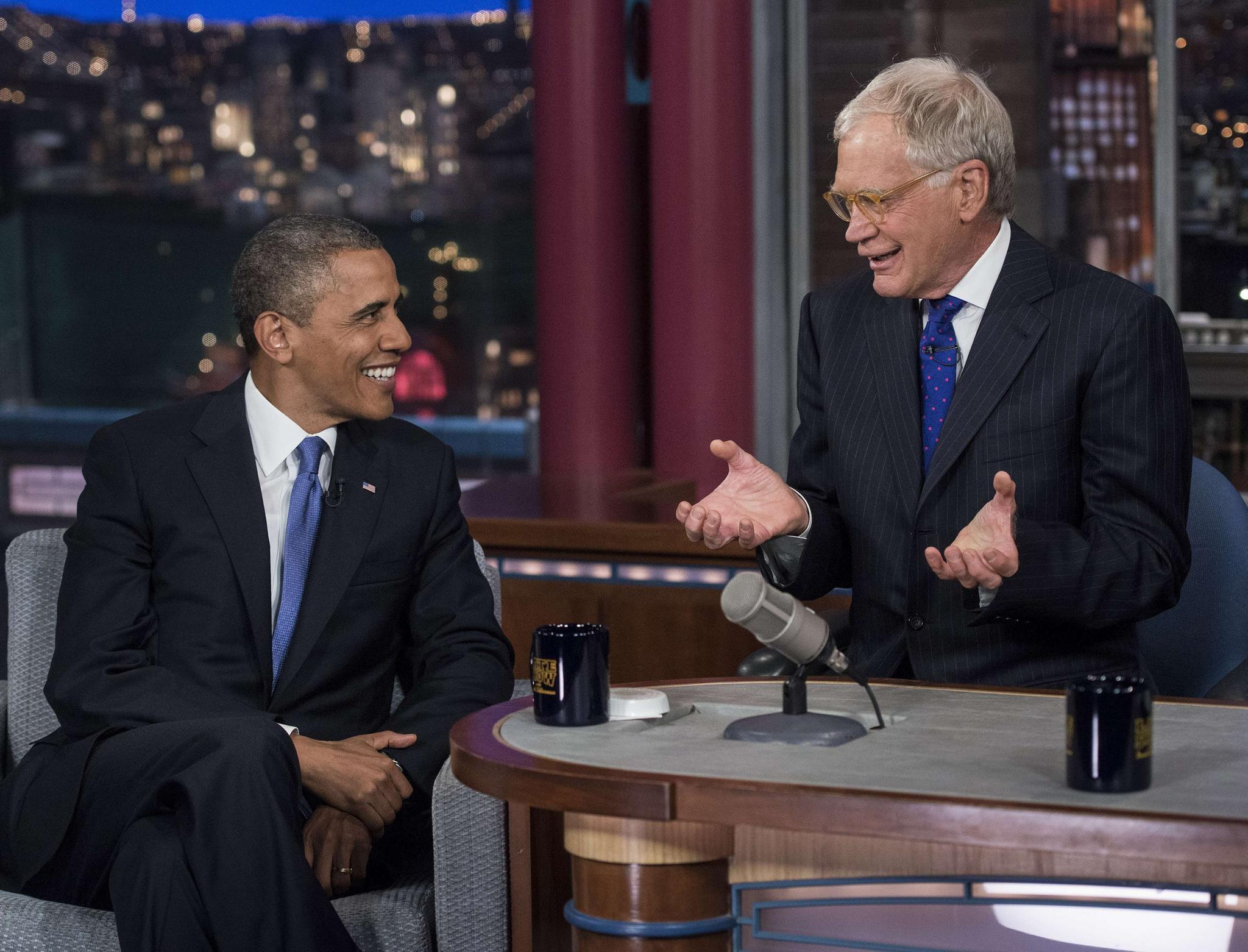 News David Letterman feiert Fernseh eback mit Barack Obama