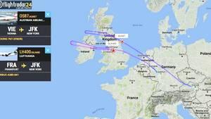 Sowohl der Lufthansa-Airbus als auch die Austrian-Boeing drehen auf dem Weg nach New York über Irland wieder zurück.
