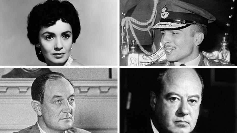 Susan Cabot, der jordanische König Hussein I.,Robert Maheu und Edwin Pauley