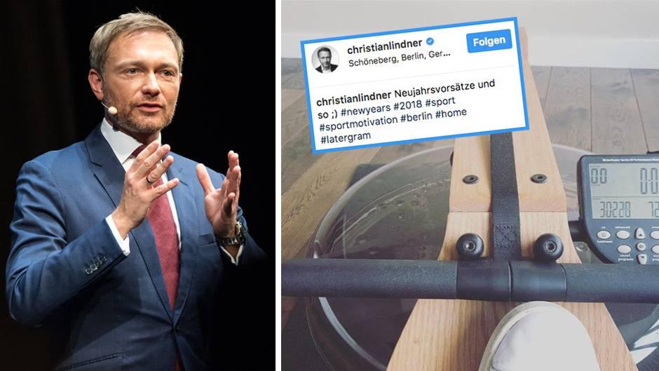 Christian Lindner und die Rudermaschine