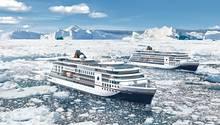 """Die beiden Neubauten von Hapag-Lloyd Cruises: Ab April 2019 fahren die """"Hanseatic nature"""" und ab Oktober 2019 die """"Hanseatic inspiration"""", die auf internationaleres Publikum abzielt, nicht nur die Palarregionen, sondern auch in Westeuropa."""
