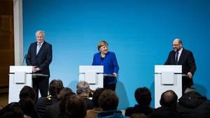 Horst Seehofer (CSU), Angela Merkel (CDU) und Martin Schulz (SPD)