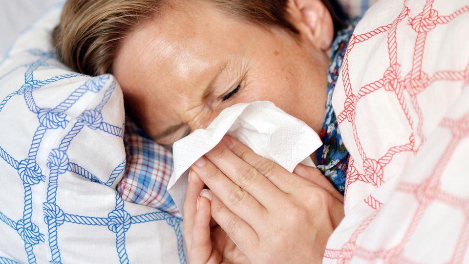 Grippewelle 2017/2018: Eine Frau liegt mit einer Grippe-Erkrankung im Bett und schnäuzt in ein Taschentuch