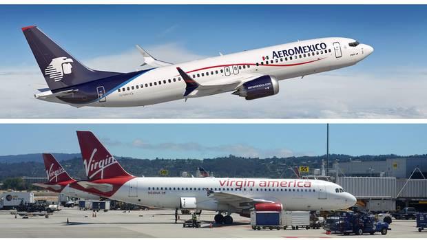 Die beiden beteiligten Maschinen: Eine Boeing 737 der Aeromexico und ein Airbus A320 von Virgin America.
