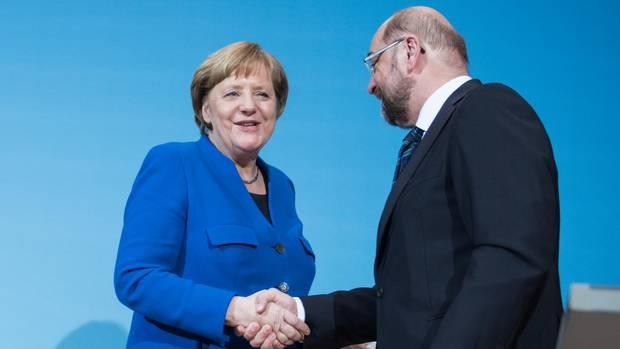 Angela Merkel (CDU) und Martin Schulz (SPD) haben sondiert und sind selbst ganz zufrieden mit ihrem Ergebnis