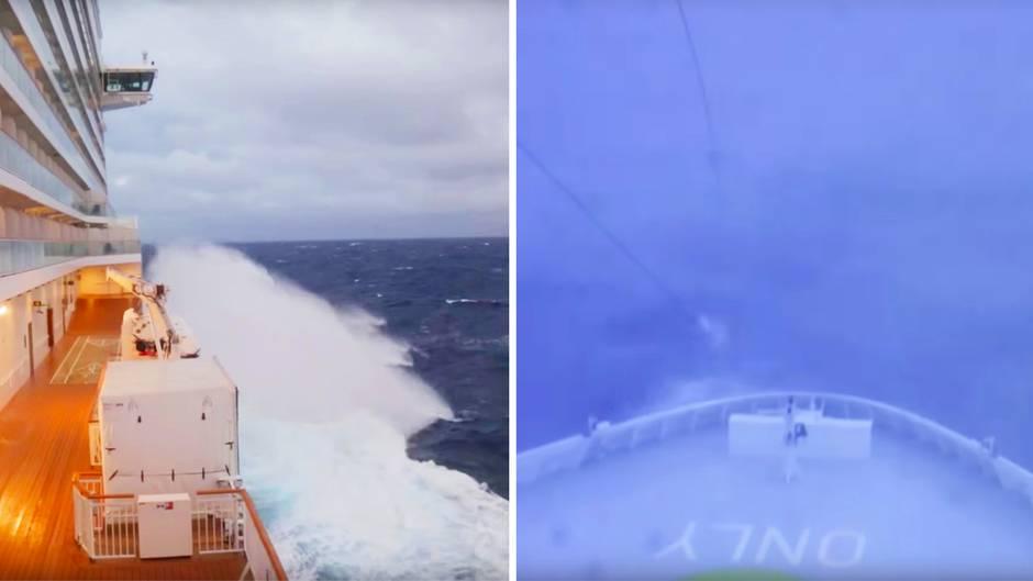 Vor New York: Passagier filmt: Kreuzfahrtschiff wird von Bombenzyklon erfasst