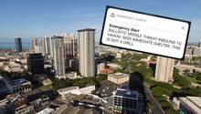 Ein Blick über Honolulu, die Hauptstadt Hawaiis, und der Screenshot des falschen Raketenalarms