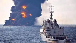 """Der brennende Öltanker """"Sanchi"""""""