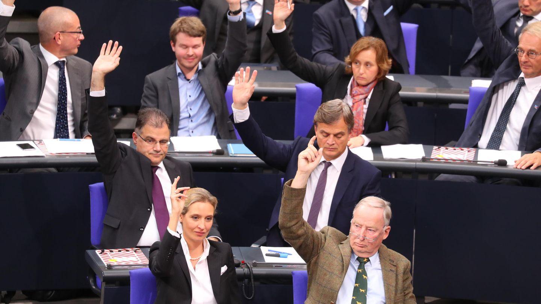Die AfD-Fraktion im Bundestag, vorne Alice Weidel und Aleyxander Gauland