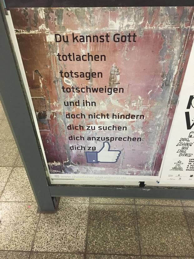 Ein Plakat des christlichen Plakatdienstes.