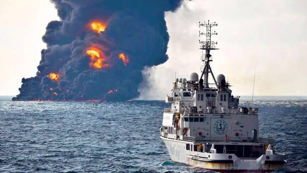 """Der in Brand geratene Öltanker """"Sanchi"""" versank im Ostchinesischen Meer"""