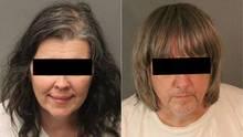 Polizeifotos zeigen links eine Frau und rechts einen Mann, die ihre 13 Kinder in Kalifornien gefangen gehalten haben sollen