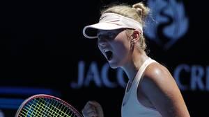 Marta Kostjuk jubelt bei den Australian Open
