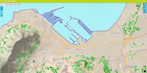 Karte mit dem aktuellen Wasserverbrauch einzelner Häuser aus dem Vormonat: Hellgrüne Punkte bedeuten ein angemessen, dunkelgrüne einen zu hohen Konsum.
