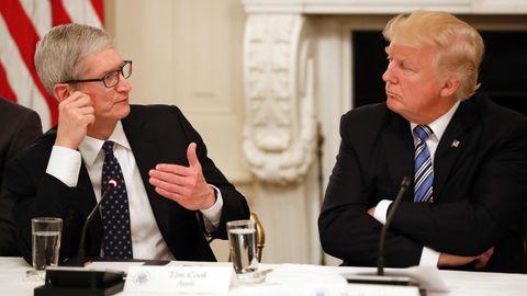 Apple-Chef Tim Cook und Donald Trump im Gespräch während eines US-Technologie-Treffens im vergangenen Jahr