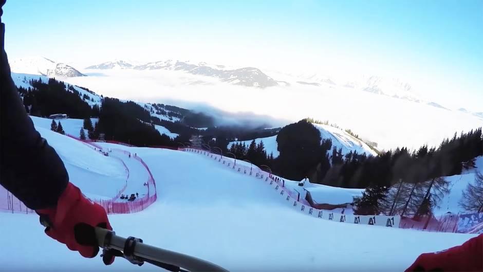 Streif in Kitzbühel: Downhill-Gott Max Stöckl meistert härteste Ski-Abfahrt der Welt